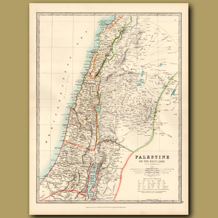 Antique print. Palestine or the Holy Land