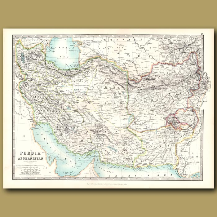 Antique print. Persia and Afghanistan