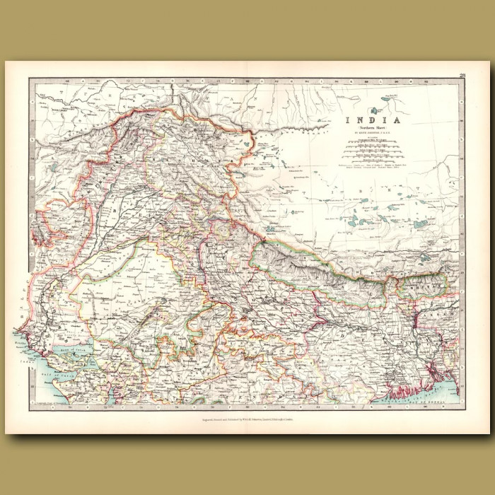 Antique map. Northern India