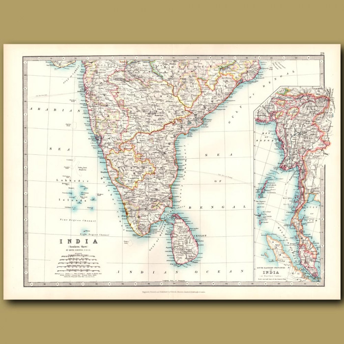 Antique map. Southern India and Sri Lanka