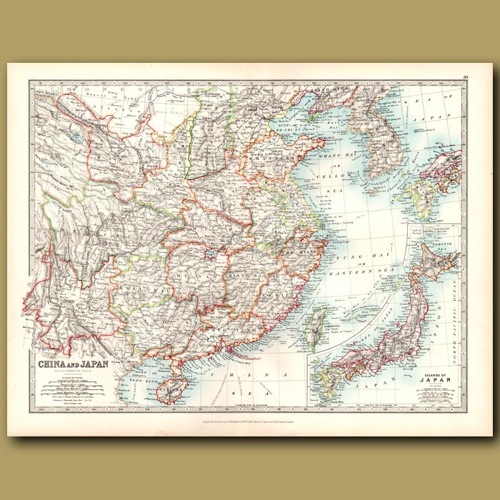 Antique print. China and Japan