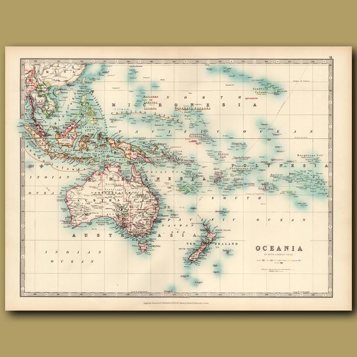 Antique print. Oceania