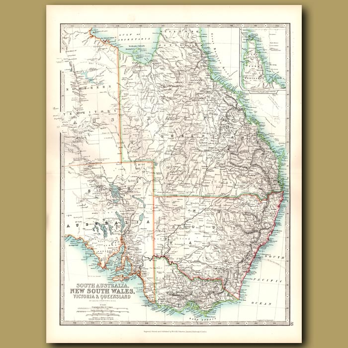 Antique print. South Australia, New South Wales, Victoria and Queensland