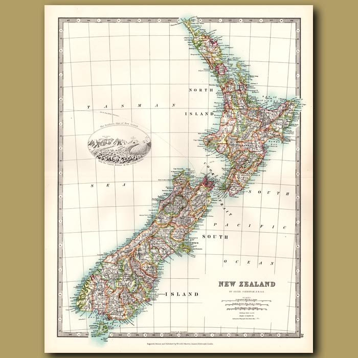 Antique print. New Zealand