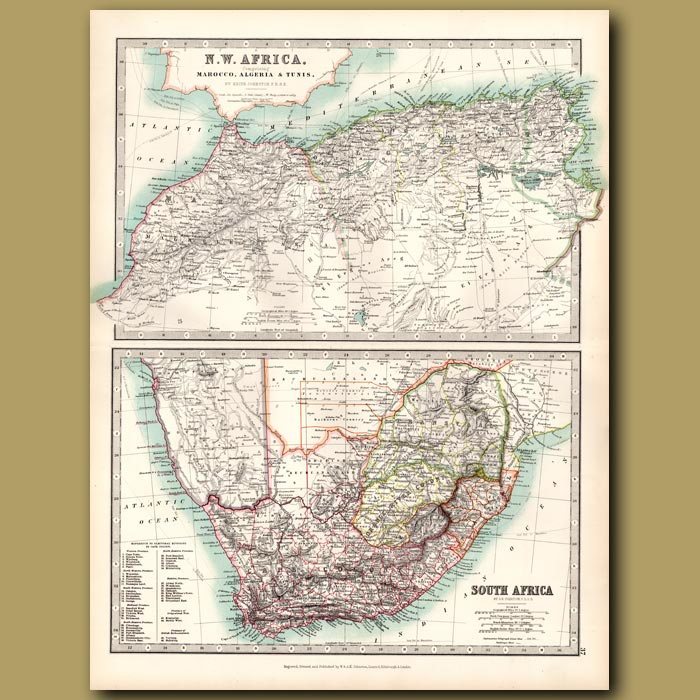 Antique print. North West Africa and South Africa