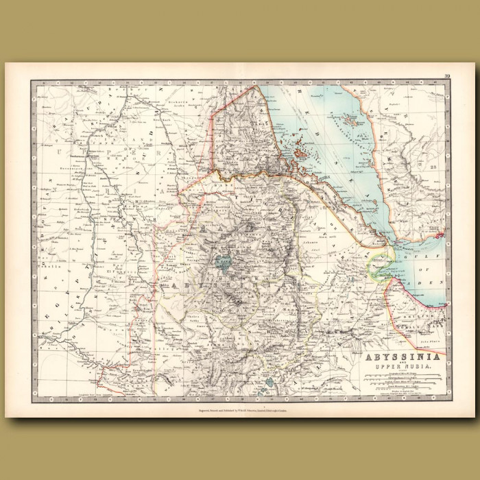 Antique map. Abyssinia and Upper Nubia