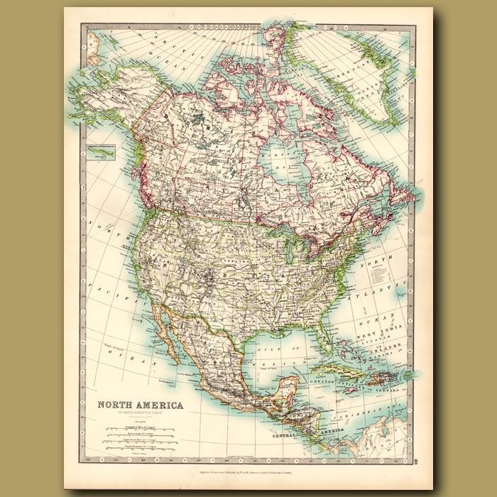 Antique print. North America
