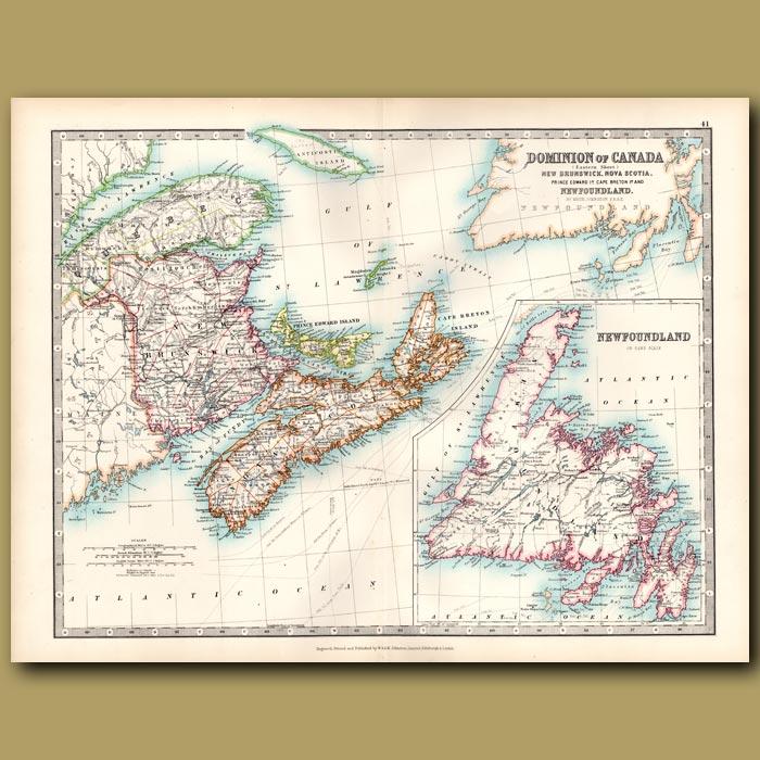Antique print. Dominion of Canada