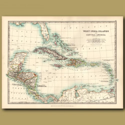 Map of West Indian Islands And Central America