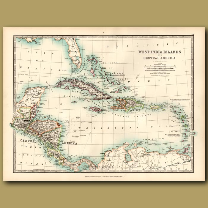 Antique print. West India Islands and Central America