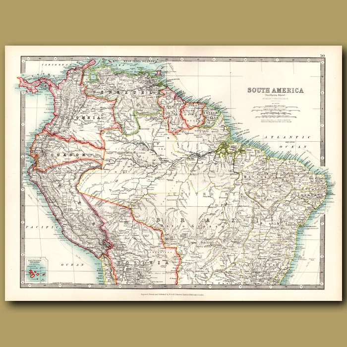 Antique print. South America – Northern Sheet