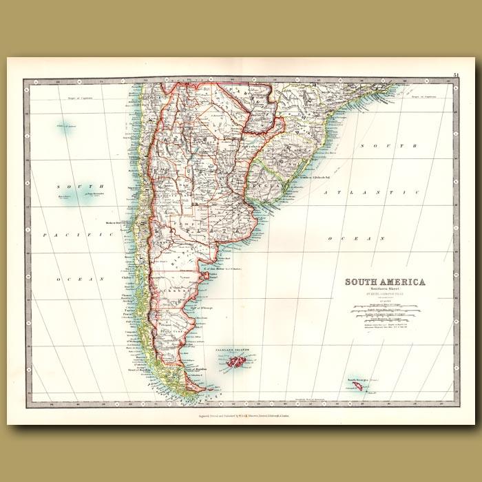 Antique print. South America – Southern Sheet