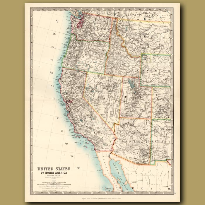Antique print. United States of North America – Western Sheet