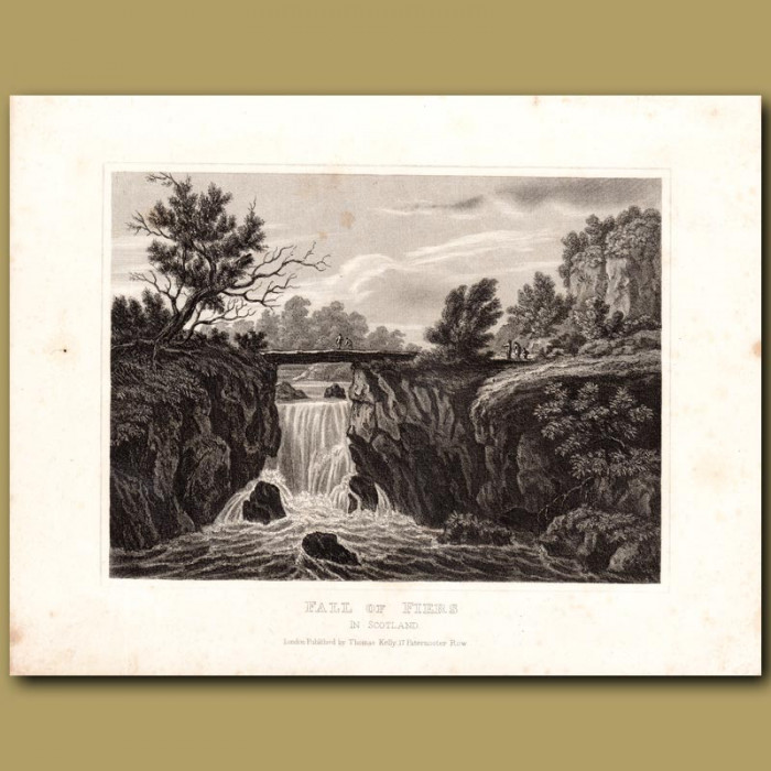 Antique print. Fall of Fiers in Scotland