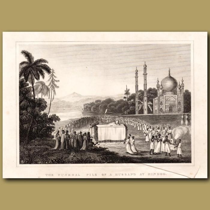 Antique print. Hindu Funeral Pyre