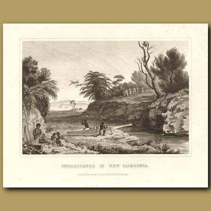 Antique print. Inhabitants of New Caledonia