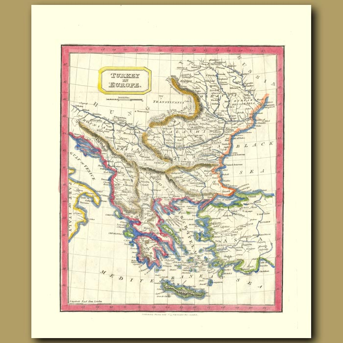 Antique print. Map Of Turkey In Europe