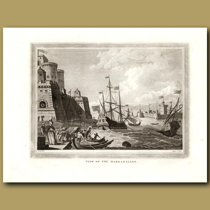 Antique print. View Of The Dardanelles