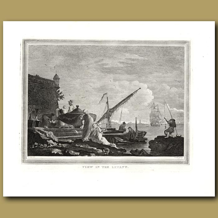 Antique print. View In The Levant