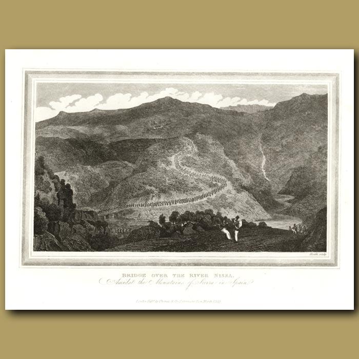 Antique print. Bridge Over The River Nissa