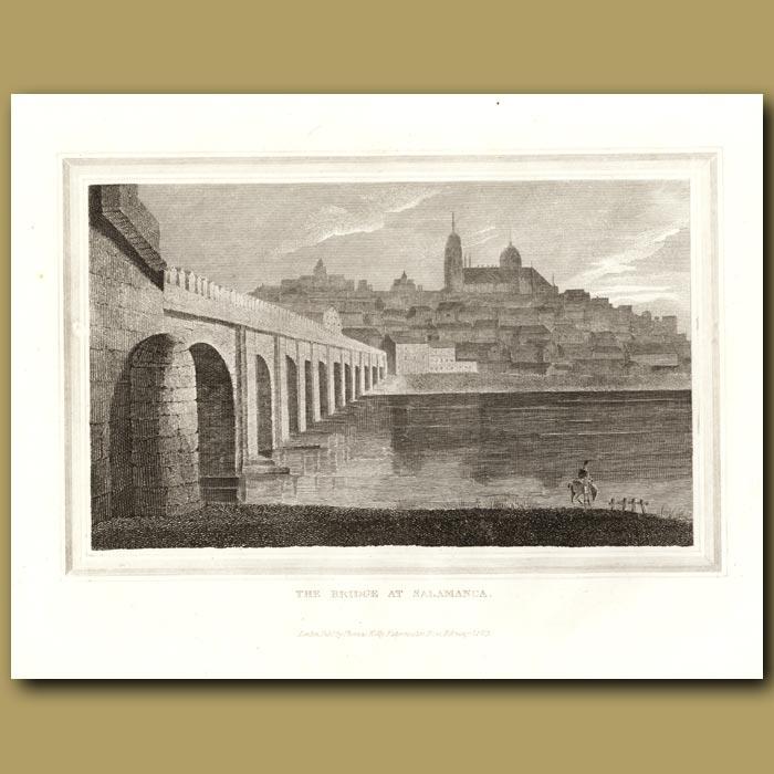 Antique print. The Bridge At Salamanca