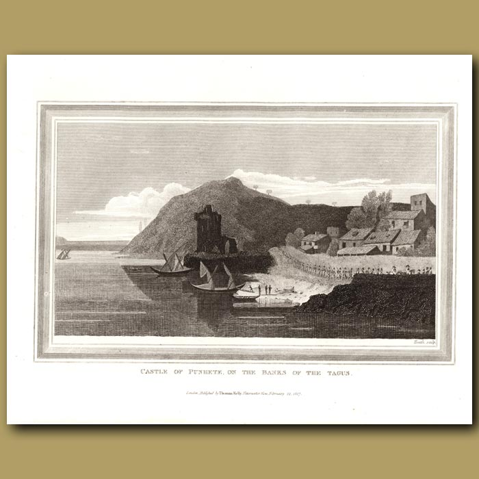 Antique print. Castle Of Punhete On The Banks Of The Tagus