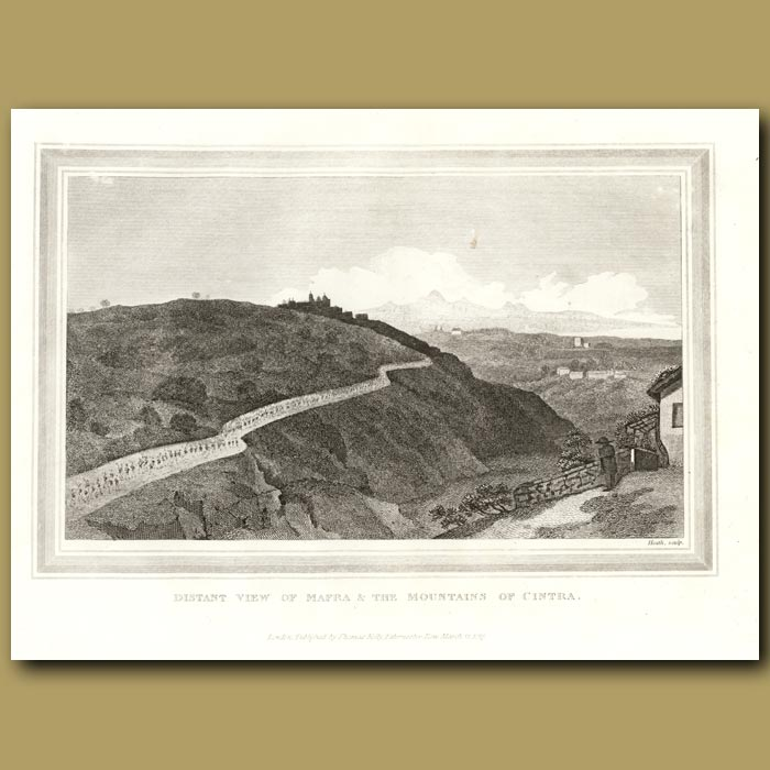 Antique print. Distant View Of Mafra And The Mountains Of Cintra In Portugal