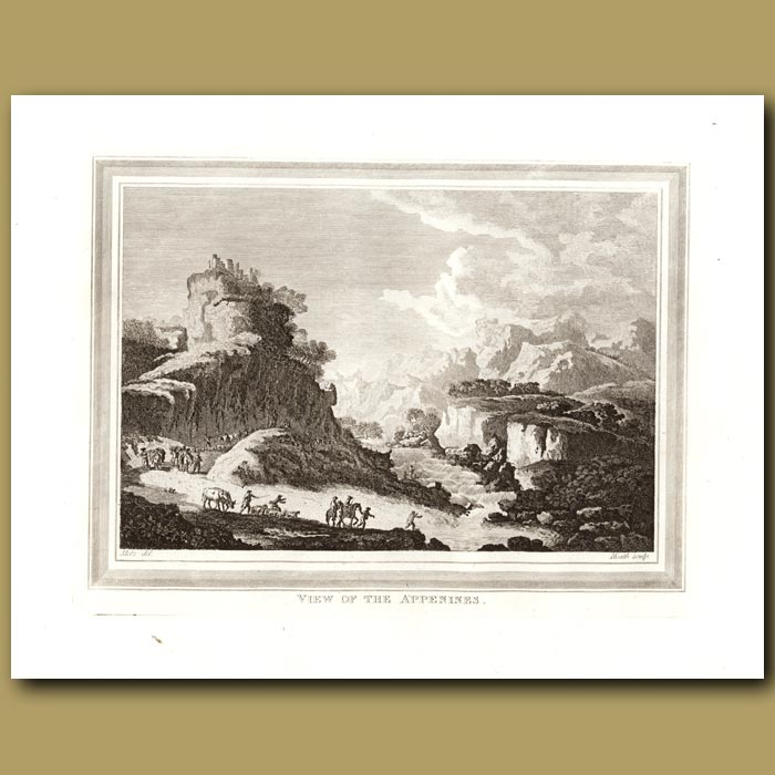 Antique print. View Of The Appenines In Italy