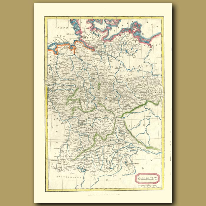 Antique print. Map Of Germany
