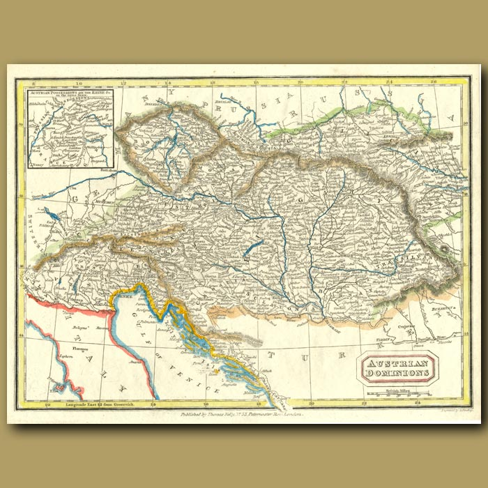 Antique print. Map Of The Austrian Dominions