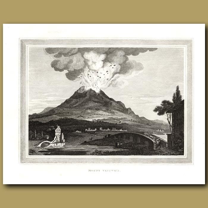 Antique print. Mount Vesuvius