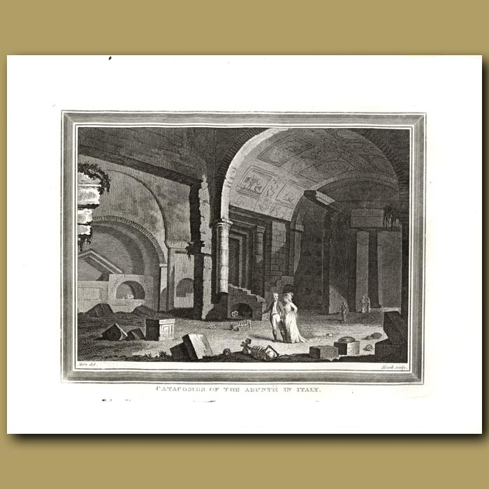 Antique print. Catacombs Of The Arunth In Italy