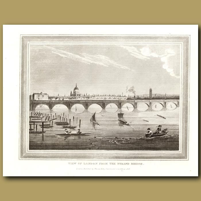 Antique print. View Of London From The Strand Bridge