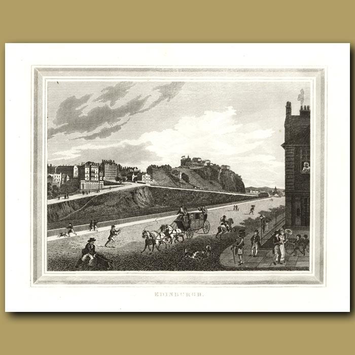Antique print. Edinburgh