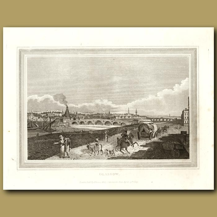 Antique print. Glasgow