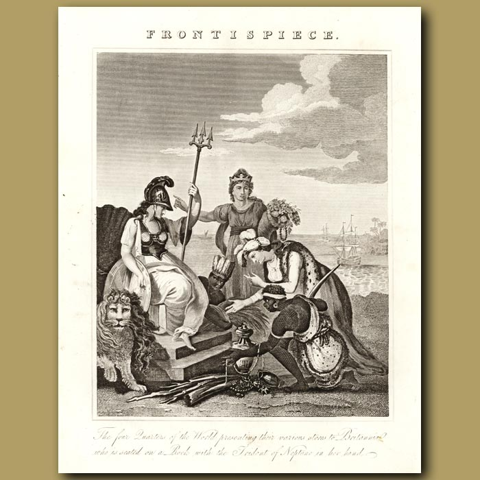 Antique print. The Four Quarters Of The World Presenting Their Various Stores To Britannia Who Is Seated On A Rock