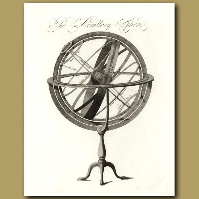 Antique print. The Armillary Sphere