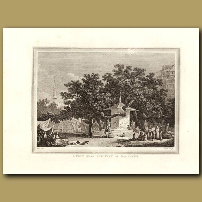 Antique print. A View Near The City Of Damascus