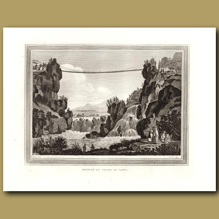 Antique print. Bridge Of Chains In China