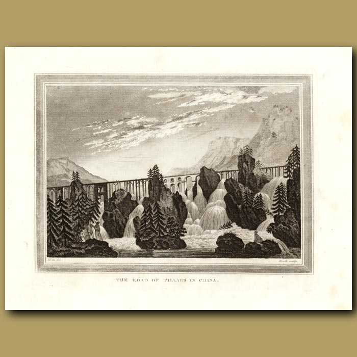 Antique print. The Road Of Pillars In China