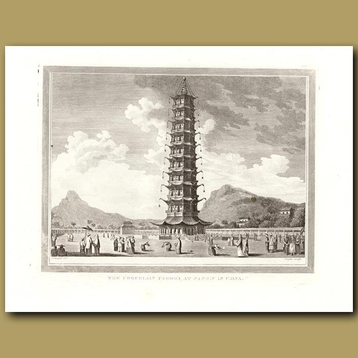 Antique print. The Porcelain Pagoda At Nankin In China