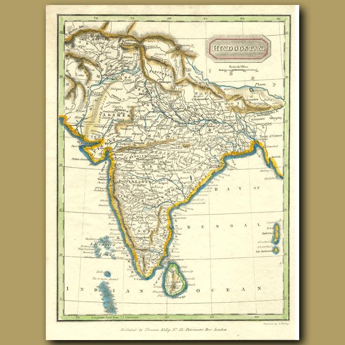 Antique print. Map Of India (Hindoostan)