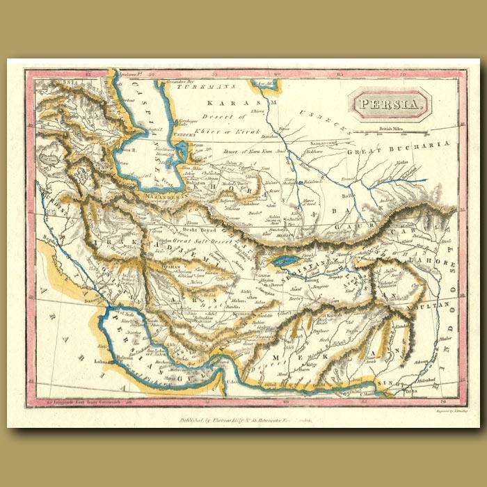 Antique print. Map Of Persia