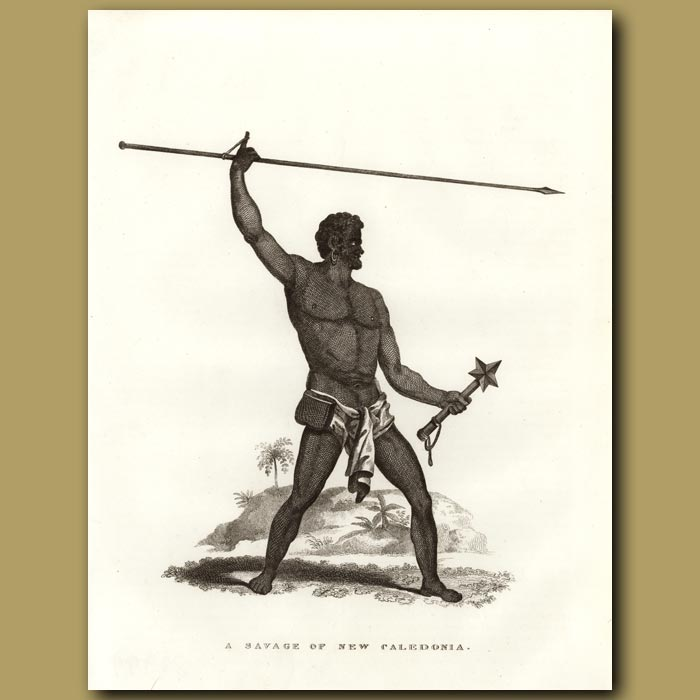 Antique print. A Savage Of New Caledonia