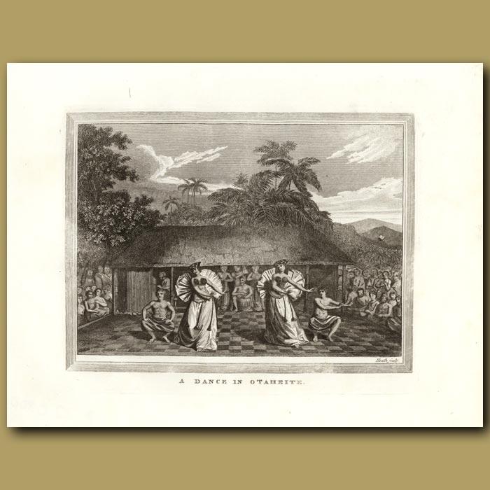 Antique print. A Dance In Otaheite