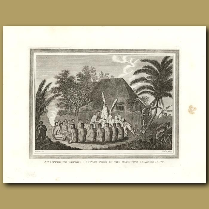 Antique print. An Offering Before Captain Cook In The Sandwich Islands (Hawaii)