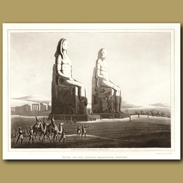 Antique print. Ruins Of The Ancient Memnonium Statues