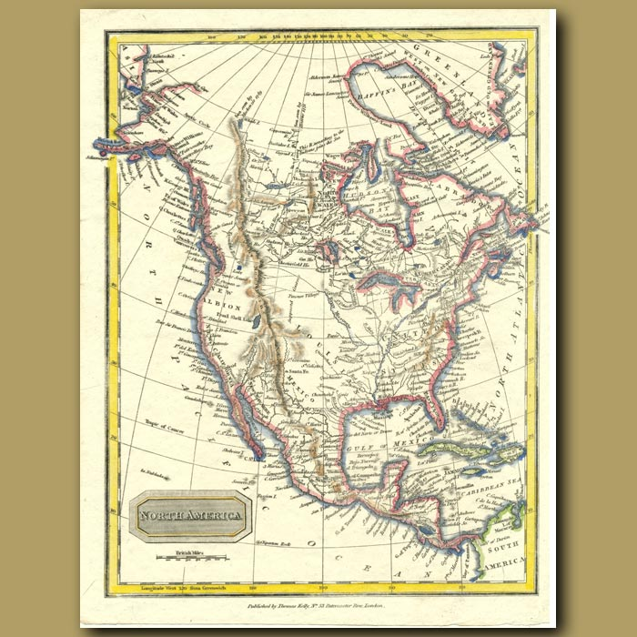 Antique print. Map Of North America