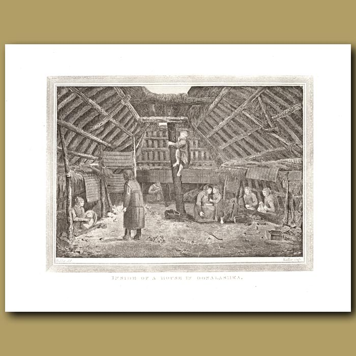 Antique print. Inside Of A House In Oonalashka
