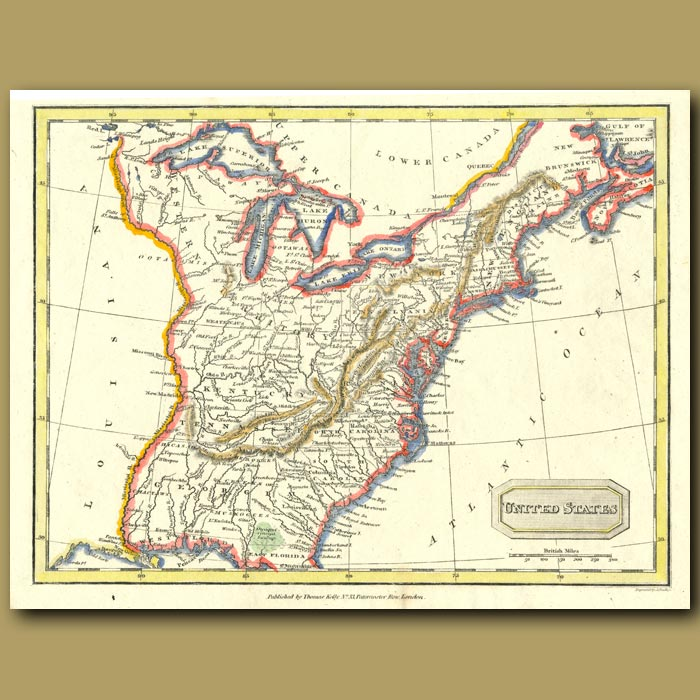 Antique print. Map Of United States To East Of Mississippi